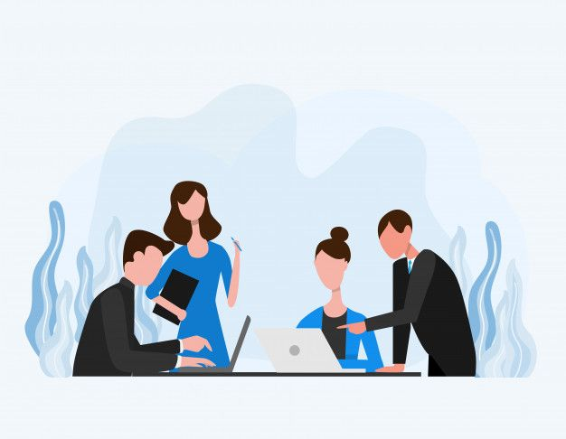 oficinistas conversando en una reunión
