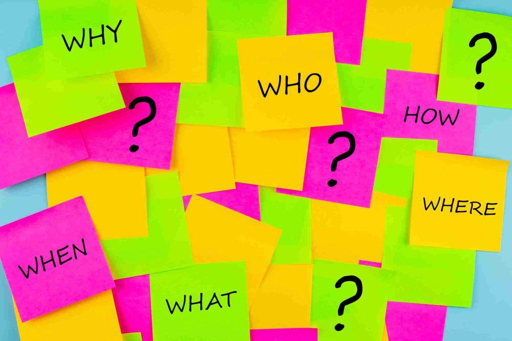 Pronombre inglés notas con pronombres who, how, where, when, what, why